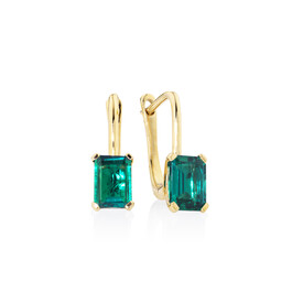 Drop Earrings With Created Emerald In 10ct Yellow Gold
