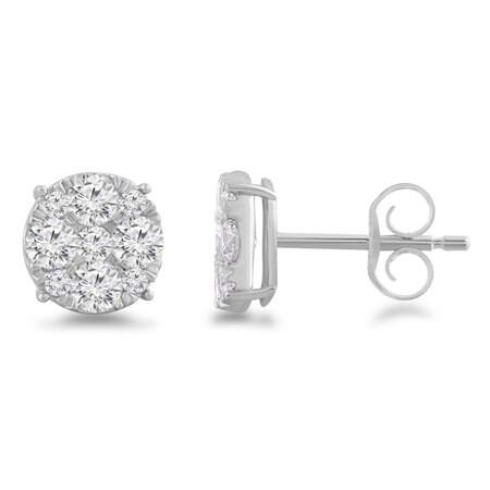 Cluster Stud Earrings with 1.00 Carat TW of Diamonds in 10ct White Gold