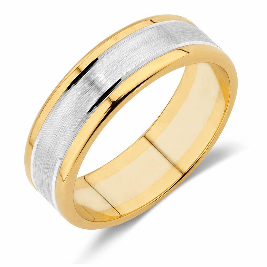 Men's Wedding Band in 10ct Yellow & White Gold