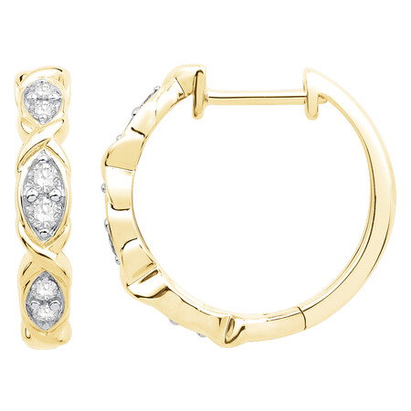 Twist Hoop Earrings with 0.20 Carat TW of Diamonds in 10ct Yellow Gold