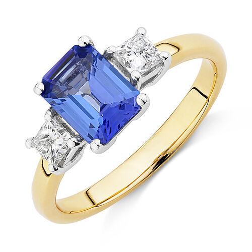 Three Stone Ring with Tanzanite & 0.40 Carat TW of Diamonds in 10ct Yellow & White Gold