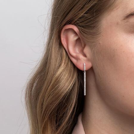 Bar Drop Earrings With Cubic Zirconia In Sterling Silver