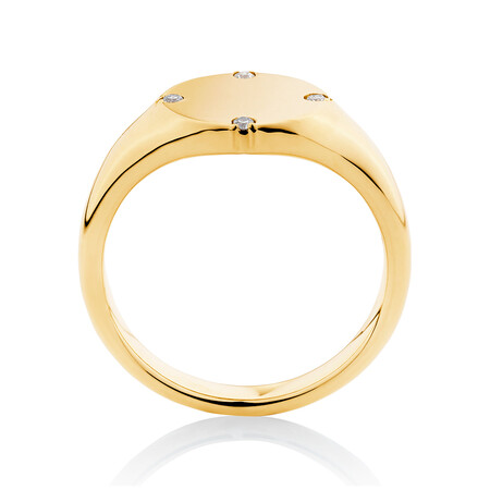 Compass Ring with Diamonds in 10ct Yellow Gold