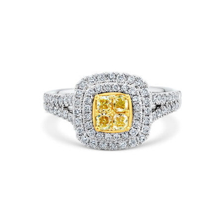 Engagement Ring with 1 Carat TW of White & Yellow Diamonds in 14ct White & Yellow Gold