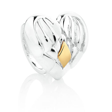 Wild Hearts Angel Wing Heart Charm in Sterling Silver & 10ct Yellow Gold