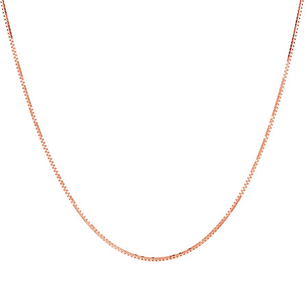 "50cm (20"") Box Chain in 10ct Rose Gold"