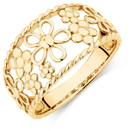 Flower Ring in 10ct Yellow Gold