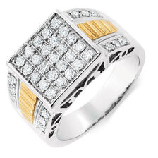 Men's Ring with 1 Carat TW of Diamonds in 10ct Yellow & White Gold