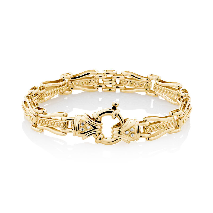 "19cm (7.5"") Bracelet with Diamonds in 10ct Yellow Gold"