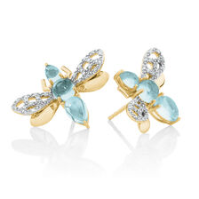 Insect Stud Earrings with Blue Stones & 0.16 Carat TW of Diamonds in 10ct Yellow Gold