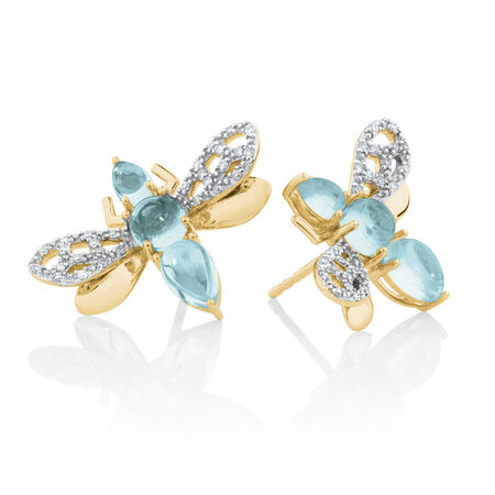 Insect Stud Earrings with BlueStones&0.16 Carat TW of Diamonds in 10ct Yellow Gold