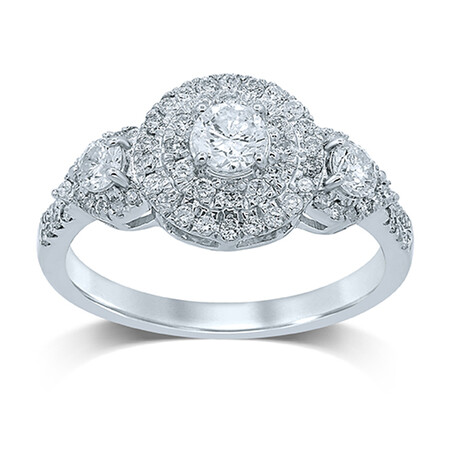 Ring with 1.00 Carat TW of Diamonds in 14ct White Gold