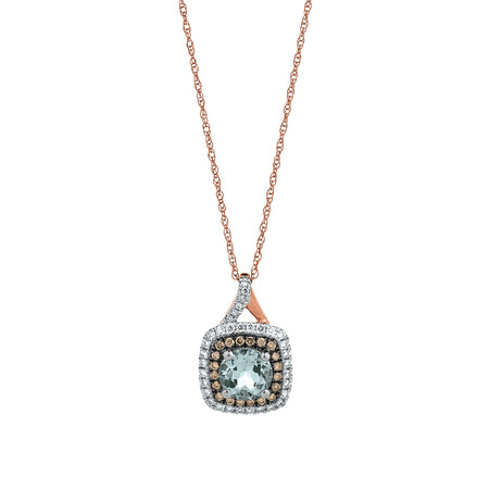 Pendant with Aquamarine & 0.27 Carat TW of White & Brown Diamonds in 10ct Rose Gold