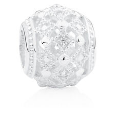 Vintage Style Charm with Cubic Zirconia in Sterling Silver