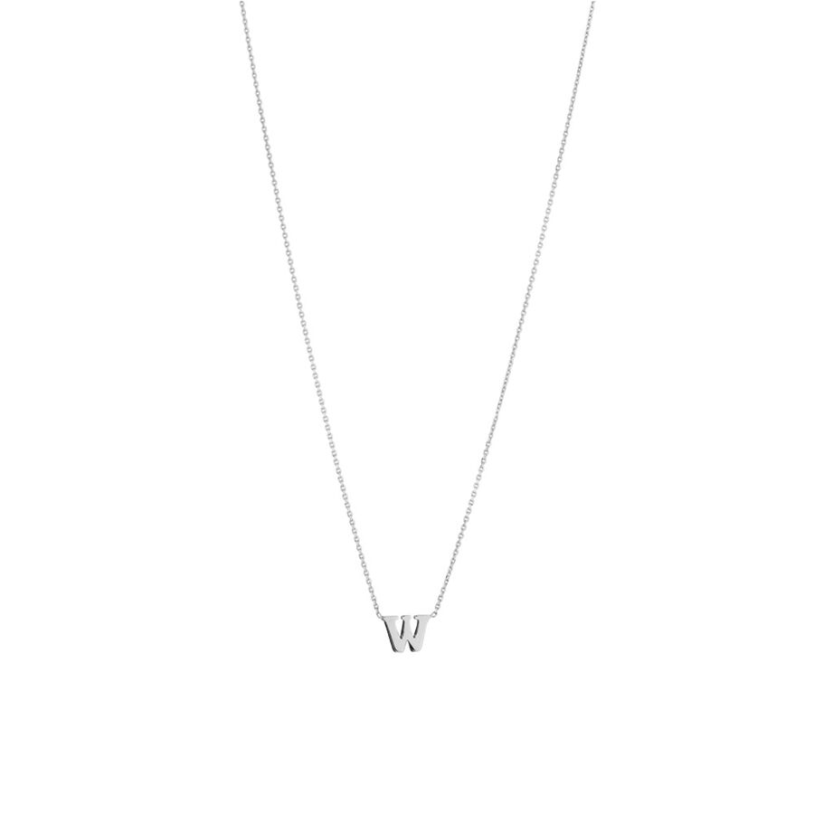 'W' Initial Necklace in Sterling Silver