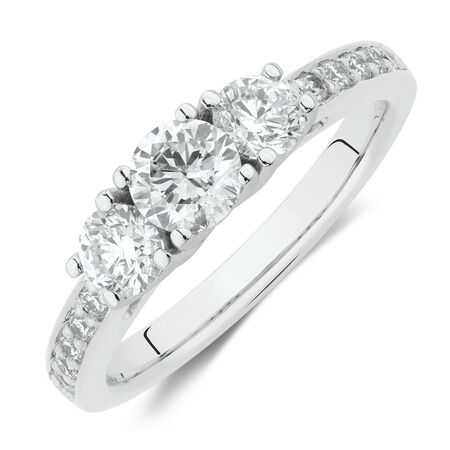 Three Stone Engagement Ring with 1 Carat TW of Diamonds in 14ct White Gold