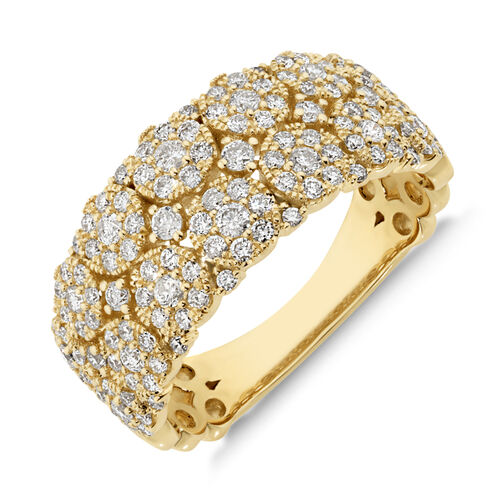 Two Row Ring with 0.90 Carat TW of Diamonds in 10ct Yellow Gold