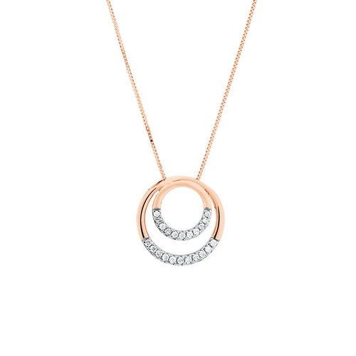 Double Circle Pendant With 0.12 Carat TW of Diamonds in 10ct Rose Gold