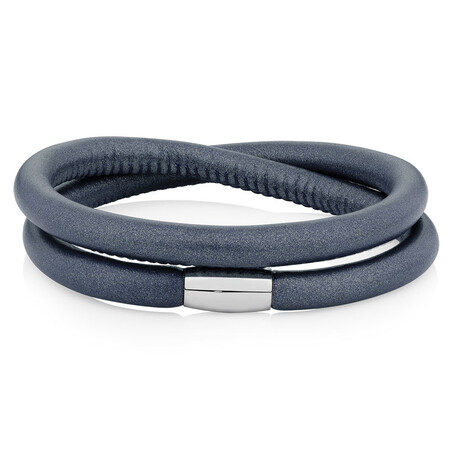 Slate Leather Wild Hearts Double Wrap Bracelet