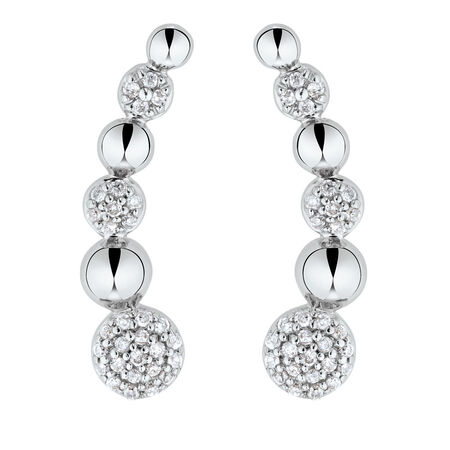Ear Climbers with 0.16 Carat TW of Diamonds in Sterling Silver