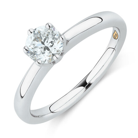 Whitefire Solitaire Engagement Ring with a 0.7 Carat TW Diamond in 18ct White & 22ct Yellow Gold