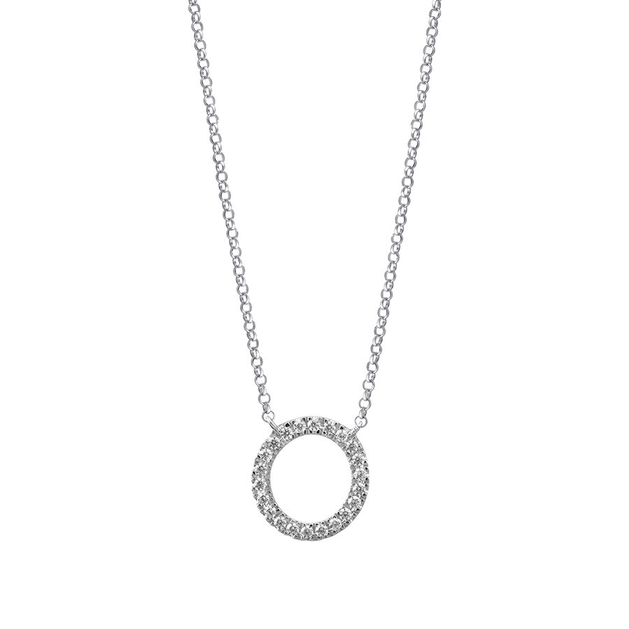 """O"" Initial necklace with 0.10 Carat TW of Diamonds in 10ct White Gold"