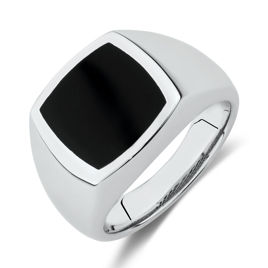 Ring with Black Agate in Sterling Silver