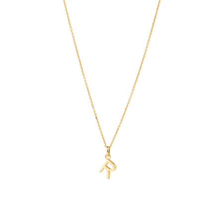 """""""R"""" Initial Pendant with Chain in 10ct Yellow Gold"""