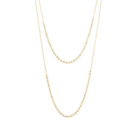 Adjustable Beaded Necklace in 10ct Yellow Gold