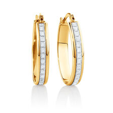 22mm Oval Glitter Hoop Earrings In 10ct Yellow Gold