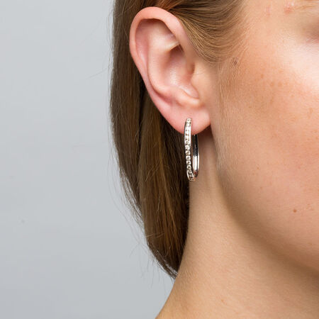 Hoop Earrings with 1 Carat TW of Diamonds in 10ct White Gold