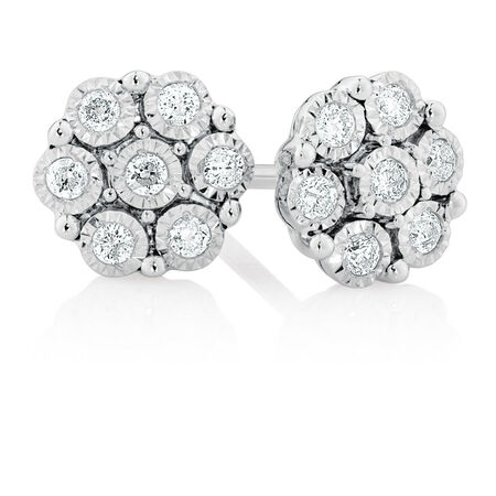 Online Exclusive - Cluster Stud Earrings with 0.18 Carat TW of Diamonds in Sterling Silver