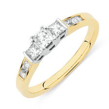 Online Exclusive - Three Stone Ring with 1/2 Carat TW of Diamonds in 18ct Yellow and White Gold