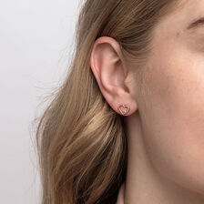 Heart Stud Earrings With Diamonds In 10ct Rose Gold