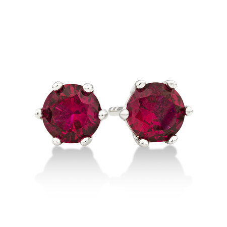 Stud Earrings with Ruby Cubic Zirconia in Sterling Silver