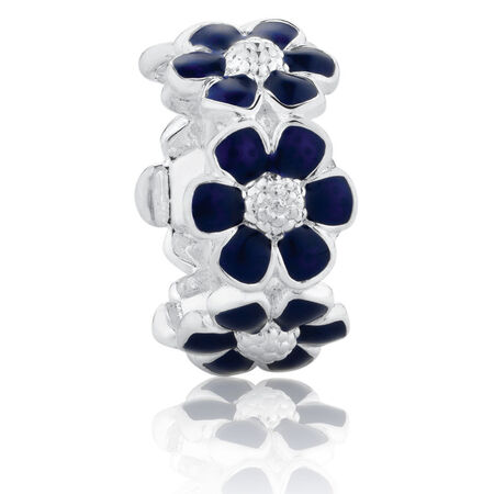 Flower Spacer with Blue Enamel in Sterling Silver