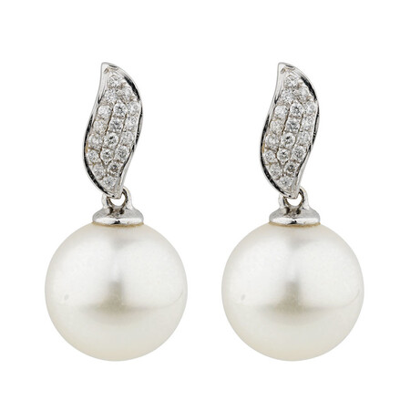 Online Exclusive - Earrings with 0.15 Carat TW of Diamonds & Cultured South Sea Pearl in 10ct White Gold