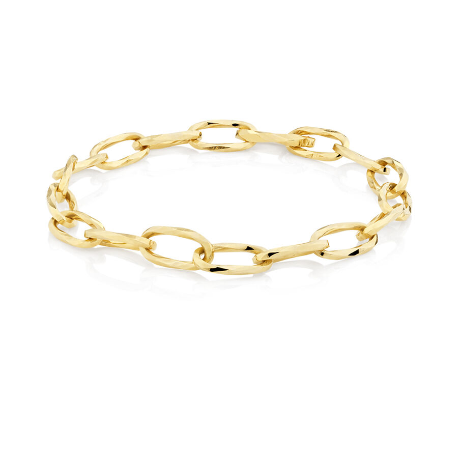 Oval Hollow Bracelet in 10ct Yellow Gold