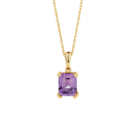 Pendant with Amethyst in 10ct Yellow Gold