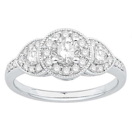 Ring with 0.87 Carat TW of Diamonds in 14ct White Gold