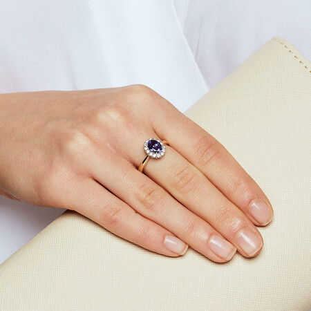 Ring with Tanzanite & 1/4 Carat TW of Diamonds in 10ct Yellow & White Gold