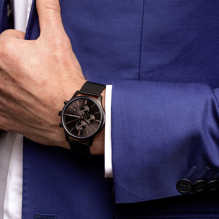 Men's Chronograph Watch in Black Tone Stainless Steel