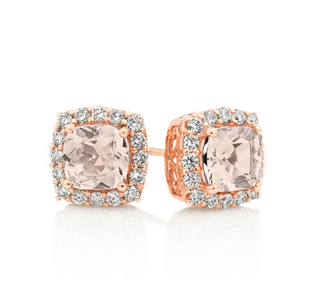 Halo Earrings With Morganite & 0.50 Carat TW Diamonds In 10ct Rose Gold
