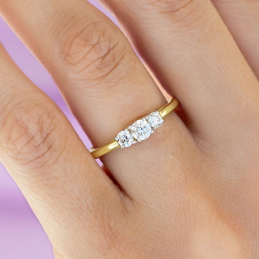 Three Stone Engagement Ring with 1/2 Carat TW of Diamonds in 10ct Yellow Gold