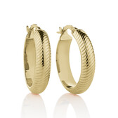 18mm Patterned Hoop Earrings in 10ct Yellow Gold