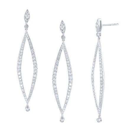 Drop Earrings with 1.30 Carat TW of Diamonds in 10ct White Gold