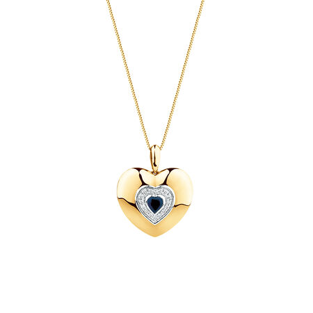 Heart Pendant with Blue Sapphire & Diamonds in 10ct Yellow Gold