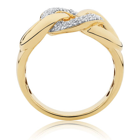 Link Ring with 1/4 Carat TW of Diamonds in 10ct Yellow Gold