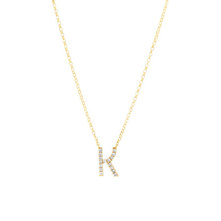 Initial Necklace with 0.10 Carat TW of Diamonds in 10kt Yellow Gold