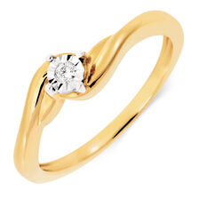 Solitaire Engagement Ring with a Diamond in 10ct Yellow Gold